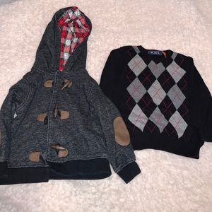 Black and gray toddler boy sweaters 18mo